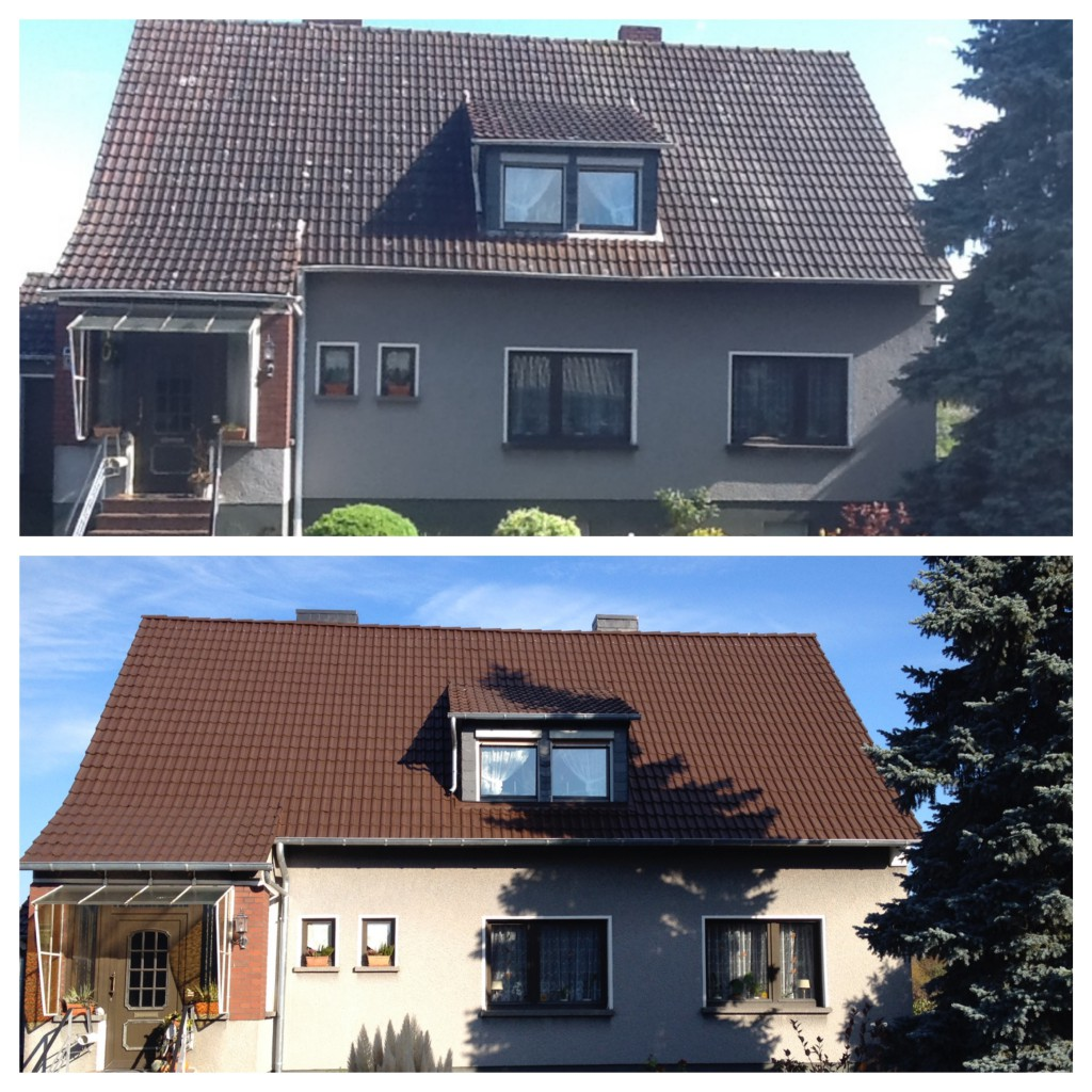 Dachbeschichtung - Vorher Nachher